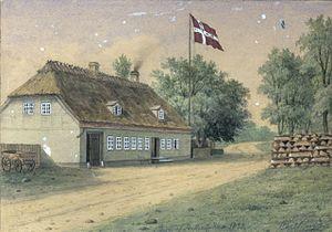 Skotterup - Skotterup Inn painted by Carl Baagøe in 1882