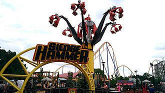 Situated in the Action Zone, the Sledge Hammer is the only ride of its kind presently operating in the world. Sledge Hammer (28877523297).jpg