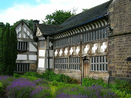 The 14th-century Smithills Hall is now a museum. Smithills Hall 1.jpg