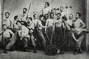 Miroslav Tyrš - Tyrš (above all) posing with other Sokol members