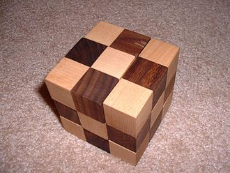 Soma cube - The same puzzle, assembled into a cube