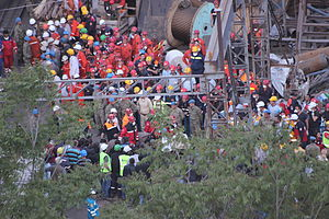 Energy accidents -  Rescue effort after the 2014 Soma mine disaster in Manisa, Turkey, where over 300 miners lost their lives.