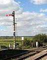 Somerleyton railway station - signal by the level crossing - geograph.org.uk - 1505953.jpg