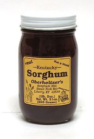 Sweet sorghum - A jar of sweet sorghum syrup