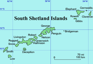 South Shetland Islands A group of islands north of the Antarctic Peninsula