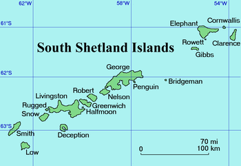 A map of the South Shetland Islands