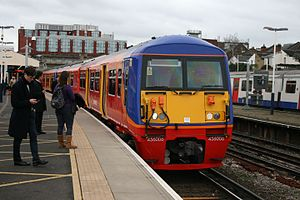 British Rail Class 456 - South West Trains Class 456 No. 456017 at Wimbledon station.