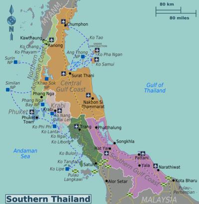 cartina thailandia sud