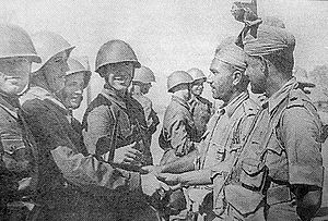Anglo-Soviet invasion of Iran - Soviet and Indian soldiers meet in late August.
