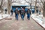 Soyuz MS-12 backup crew goes to the statue of Yuri Gagarin in Baikonur.jpg