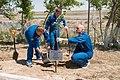 Soyuz TMA-13M crew during the tree planting ceremony.jpg