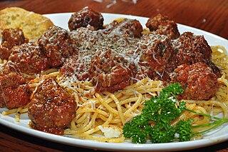 Italian-American dish consisting of spaghetti, tomato sauce and meatballs
