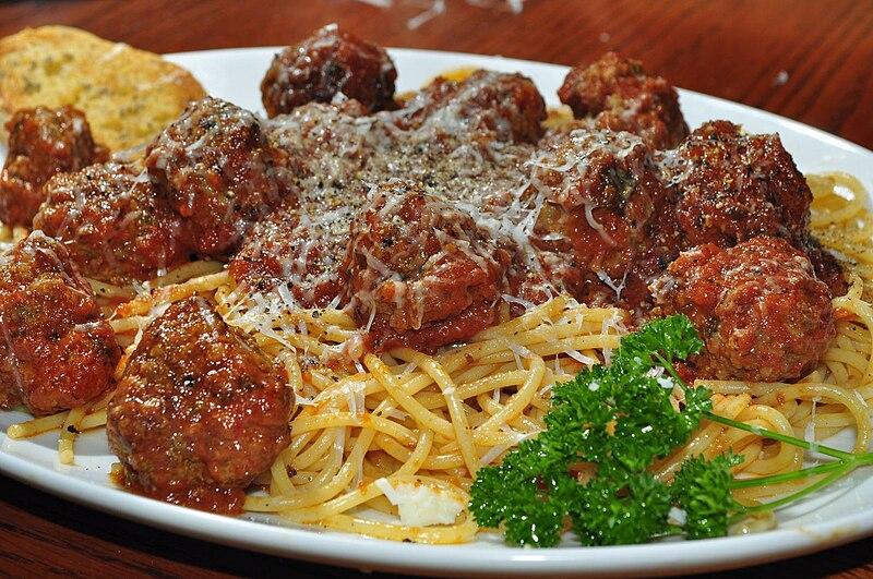 Spaghetti and meatballs, and Italian-American dish
