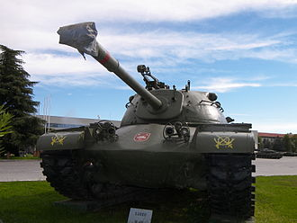 Tanks in the Spanish Army - An M48 Patton tank of the Spanish Army on display at the El Goloso Museum of Armored Vehicles in October 2007.