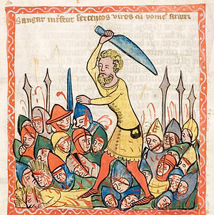 Biblical judges - The judge Shamgar slaughters 600 men with an ox goad. From a medieval German manuscript.
