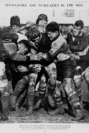 1937 South Africa rugby union tour to New Zealand and Australia - Springbok and Wallaby forwards compete for the ball in the mud during the first test in Sydney.