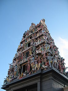 The gopuram (entrance tower) of Sri Mariamman Temple