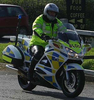 Motorcycle courier - Honda ST1300 Pan European operated by Freewheelers EVS Blood Bikes charity in South West England