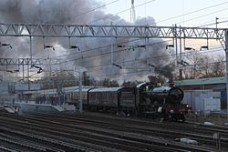 Stafford - GWR 4965 with Chester carol train.JPG