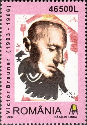 Victor Brauner - Brauner on a 2003 Romanian stamp