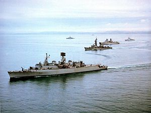 USS Claude V. Ricketts - Claude V. Ricketts (second from front) operating with Standing Naval Force Atlantic, July 1982.