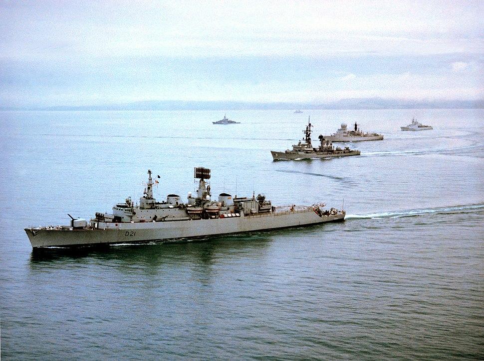 Standing Naval Force Atlantic ships underway 1982
