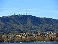 Standort des 'Oppidum Uetliberg', Ansicht vom Zürichhorn, am Seeufer das Strandbad Mythenquai 2014-01-06 12-10-24 (P7700).JPG