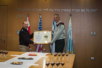 "Israel–United States military relations - U.S. Admiral James G. Stavridis (left), then Supreme Allied Commander Europe and commander of U.S. European Command, receives a first-of-its-kind ""Distinguished Ally of the Israel Defense Forces"" award from IDF Chief of Staff Benny Gantz in Tel Aviv in 2013"