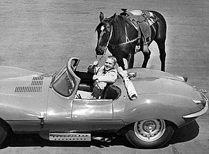 Steve McQueen - McQueen with two forms of transportation - his horse, Doc, and his Jaguar XKSS (1960)