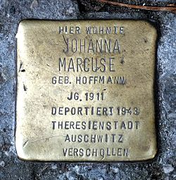 Photo of Johanna Marcuse brass plaque