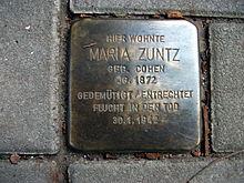 Stolperstein Maria Zuntz, Argelanderstraße 2a, Bonn.JPG