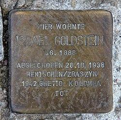 Photo of Israel Goldstein brass plaque