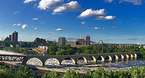 Stone Arch Bridge (Minneapolis) - A view of the Stone Arch Bridge