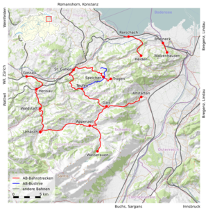 Appenzell Railways - Map of Appenzell Railways lines
