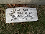 Grave marker for Thomas Sully and his wife Sarah.