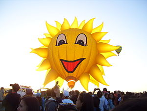 English: A photo of a sun hot air balloon.