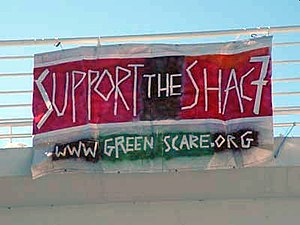 Green Scare - Banner supporting the SHAC 7 and the green scare website.