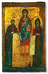 SS. Anthony and Theodosius with the Theotokos Panachranto