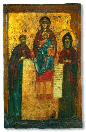 Anthony and Theodosius - Sts. Anthony and Theodosius with the Theotokos Panachrantos, 11th-century icon from the Svensky Monastery.