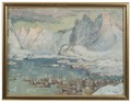 Svolvaer Harbour at the Height of the Fishing Season.Study from Lofoten (Anna Boberg) - Nationalmuseum - 20516.tif