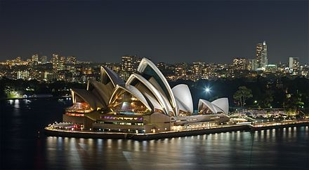 The Sydney Opera House was completed in 1973 and has become a World Heritage Site. Sydney Opera House - Dec 2008.jpg