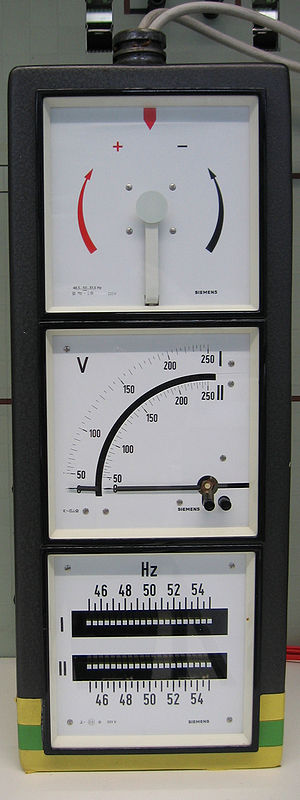 Synchronization (alternating current) -  From top to bottom: synchroscope, voltmeter, frequency meter. When the two systems are synchronized, the pointer on the synchrosope is stationary and points straight up.
