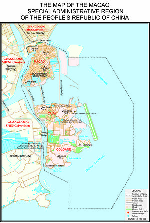 Geography of Macau - Macau borders the city of Zhuhai in Guangdong Province. The map also shows Macau's maritime boundaries.