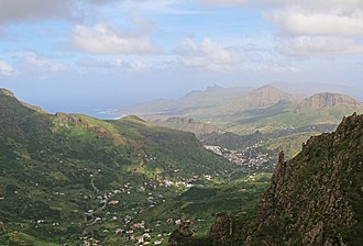 Talho - View of the Valley of Ribeira Brava, in the bottom of the middle part is the village of Talho and on top is the east of the island