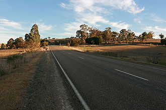 Tambo Crossing, Victoria - Looking south on the Great Alpine Road to the settlement at Tambo Crossing; at image centre, to the right of the road, is the site of the former hotel