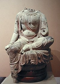 A Tang Dynasty sculpture of a Bodhisattva