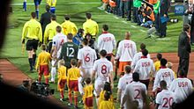 Teams head out for England & USA World Cup match 2010-06-12.jpg
