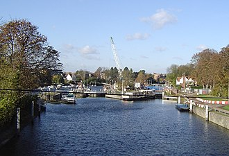 Teddington Lock - Teddington Lock undergoing maintenance. From left to right – rollers, skiff lock, launch lock and barge lock