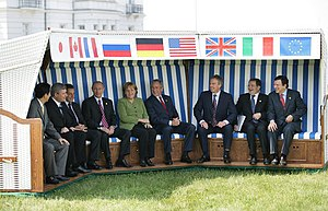33rd G8 summit - G8 leaders sitting in a Strandkorb at Grand Hotel Heiligendamm