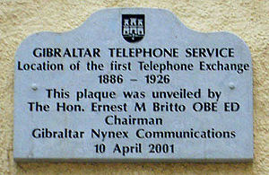 Communications in Gibraltar - Site of the first telephone exchange in City Mill Lane.